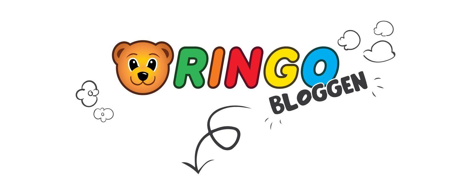 ringobloggen-logo, skyer, blomster og en pil som peker ned