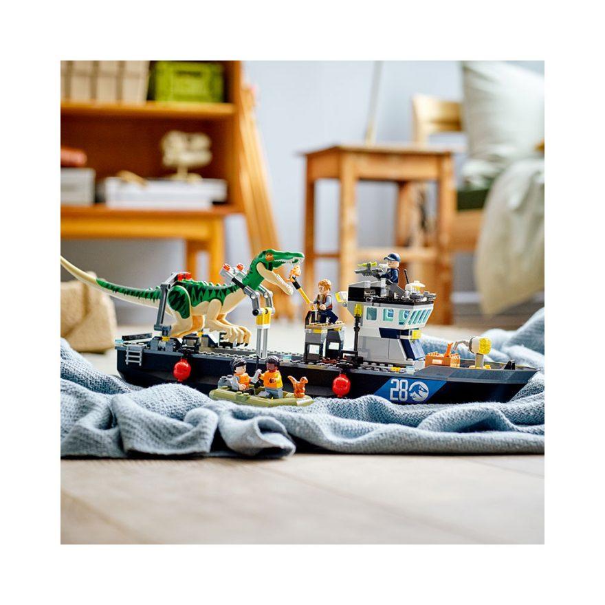 lego jurassic park baryonyx båtflukt